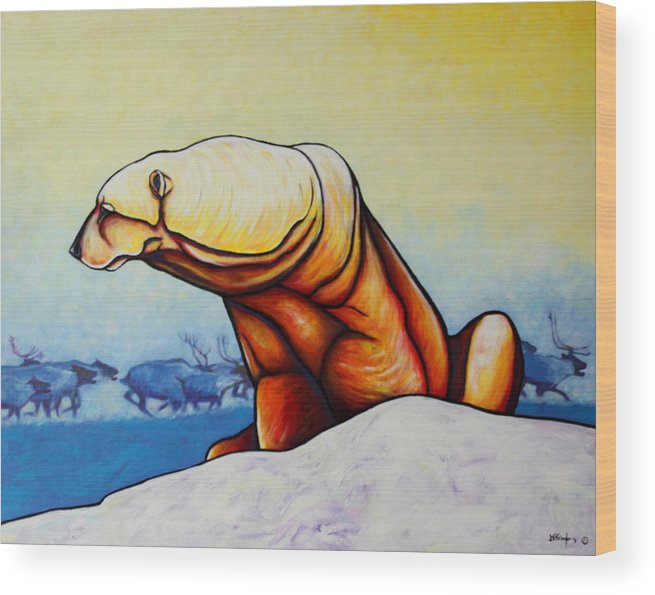 Wildlife Wood Print featuring the painting Hunger Burns - Polar Bear and Caribou by Joe Triano