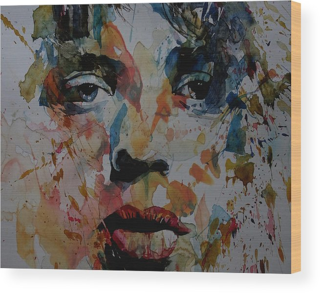 Mick Jagger Wood Print featuring the painting I Know It's Only Rock N Roll But I Like It by Paul Lovering