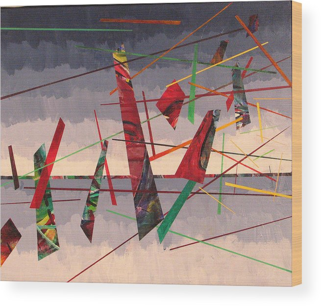 Abstract Wood Print featuring the painting In Flight by Rollin Kocsis