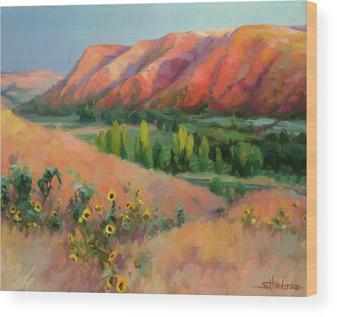 Landscape Wood Print featuring the painting Indian Hill by Steve Henderson