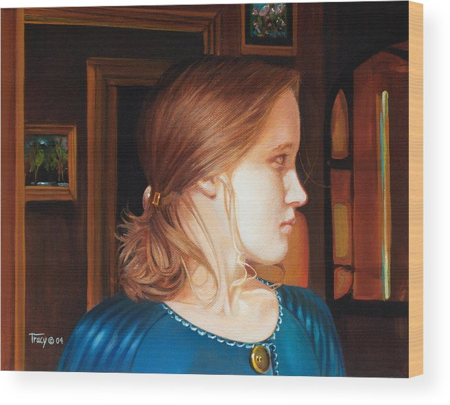 Girl Wood Print featuring the painting Interior with Young Girl by Robert Tracy