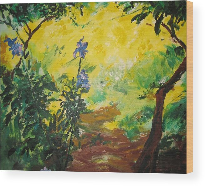 Sunlight Wood Print featuring the painting IRISES And SUNLIGHT by Lizzy Forrester