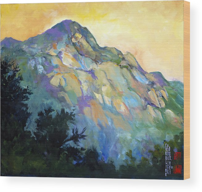 China Wood Print featuring the painting Jade Mountain by Caroline Patrick