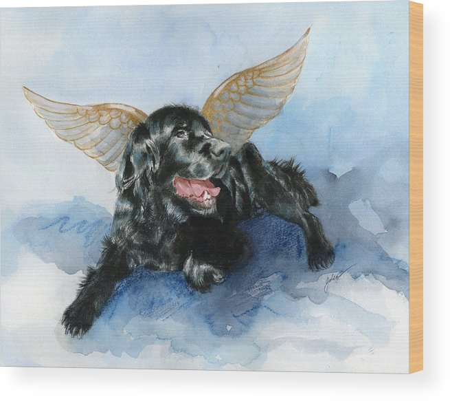 Dog Wood Print featuring the painting Jake Angel by Galen Hazelhofer