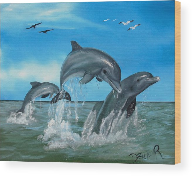 Dolphins Wood Print featuring the painting Joyful Trio by Darlene Green