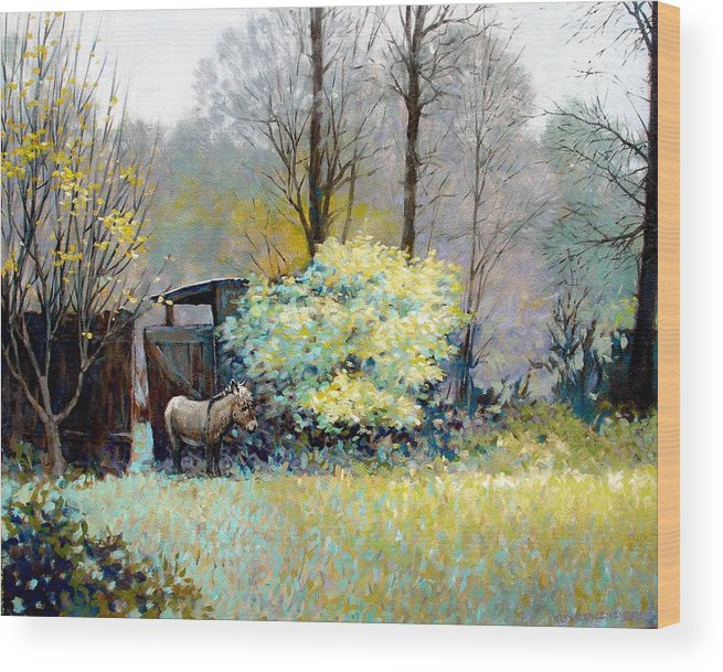 Donkey Wood Print featuring the painting Katrina by Kevin Lawrence Leveque