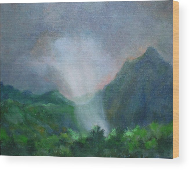 Landscape Wood Print featuring the painting Kualoa Ranch Light Show by Bryan Alexander