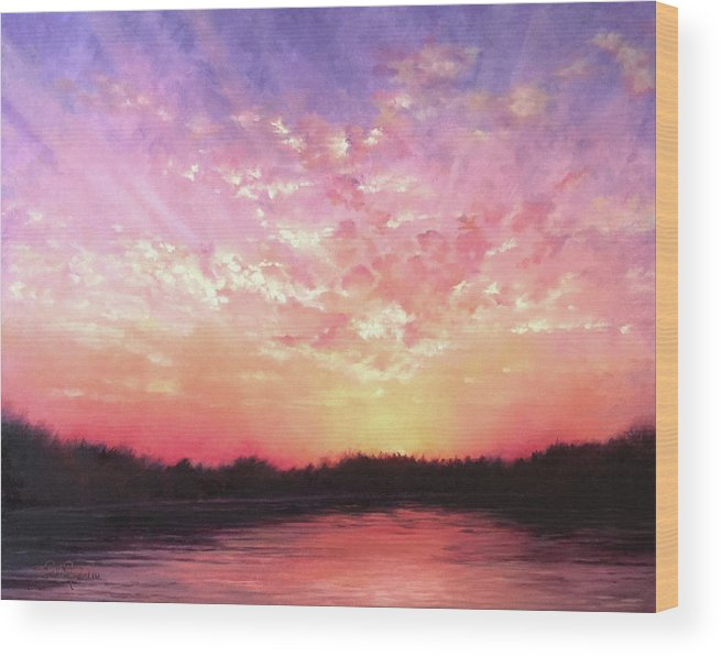 Landscape Wood Print featuring the painting Lake Sunset by Teri Rosario