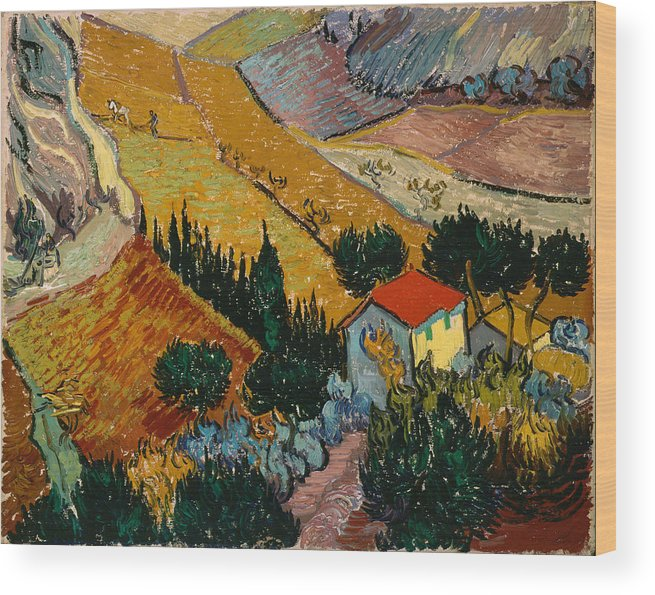 Van Gogh Wood Print featuring the painting Landscape With House And Ploughman by Van Gogh