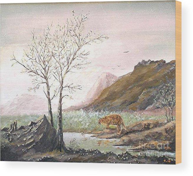 Landscape With Mountain Lion Wood Print featuring the painting Landscape with mountain lion by Nicholas Minniti