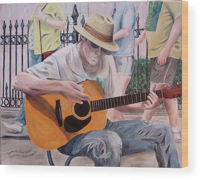 Kevin Callahan Wood Print featuring the painting Let the Good Times Roll-New Orleans Blues by Kevin Callahan