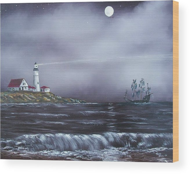 Seascape Wood Print featuring the painting Lighthouse by Tony Rodriguez