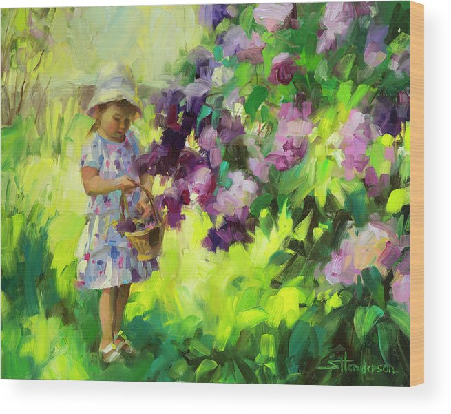 Spring Wood Print featuring the painting Lilac Festival by Steve Henderson