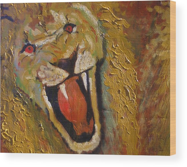 Lion Wood Print featuring the painting Lion one by J Bauer