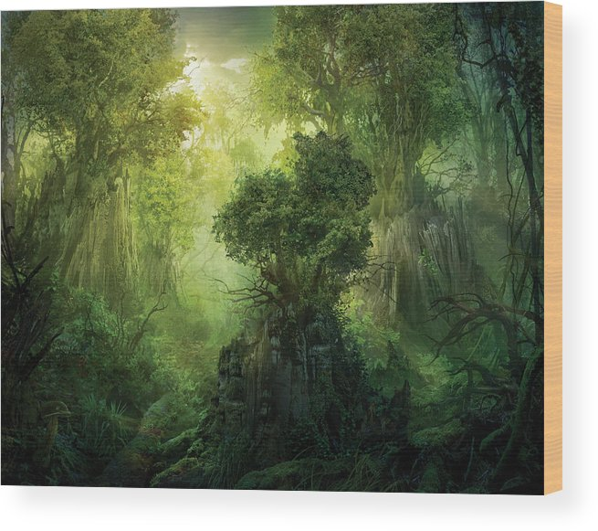 Landscape Wood Print featuring the painting Llanowar Reborn by Philip Straub