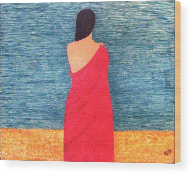 Looking Wood Print featuring the painting Looking For You by Anneliese Fritts