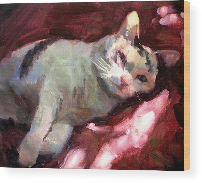 Cat Wood Print featuring the painting Luna in the Sun by Merle Keller