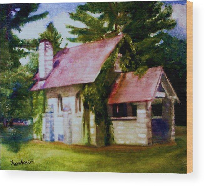 Church Wood Print featuring the painting Lyons Falls Church by Sheila Mashaw