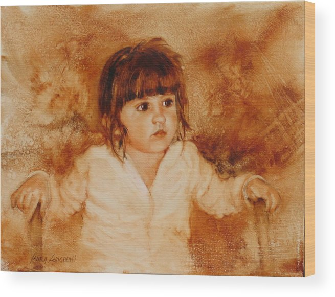 Oil Painting Wood Print featuring the painting Madison by Laura Lee Zanghetti