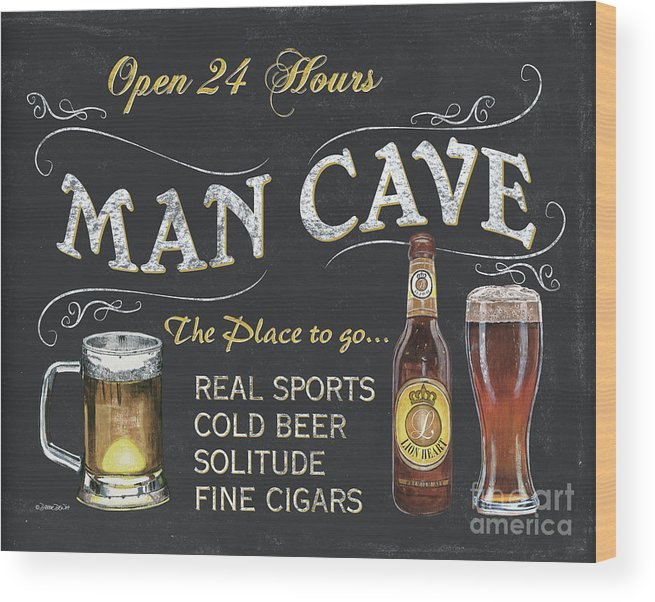 Sports Wood Print featuring the painting Man Cave Chalkboard Sign by Debbie DeWitt