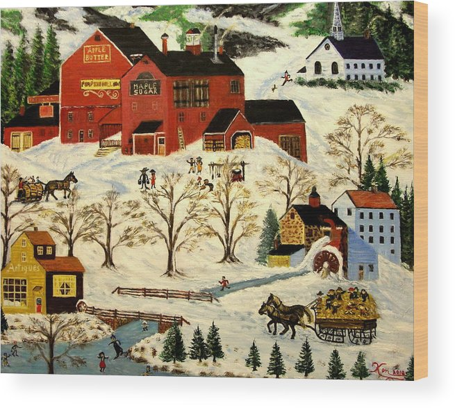 Folk Art Wood Print featuring the painting Maple Syrup Factory by Kenneth LePoidevin