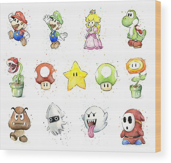 Mario Wood Print featuring the painting Mario Characters in Watercolor by Olga Shvartsur