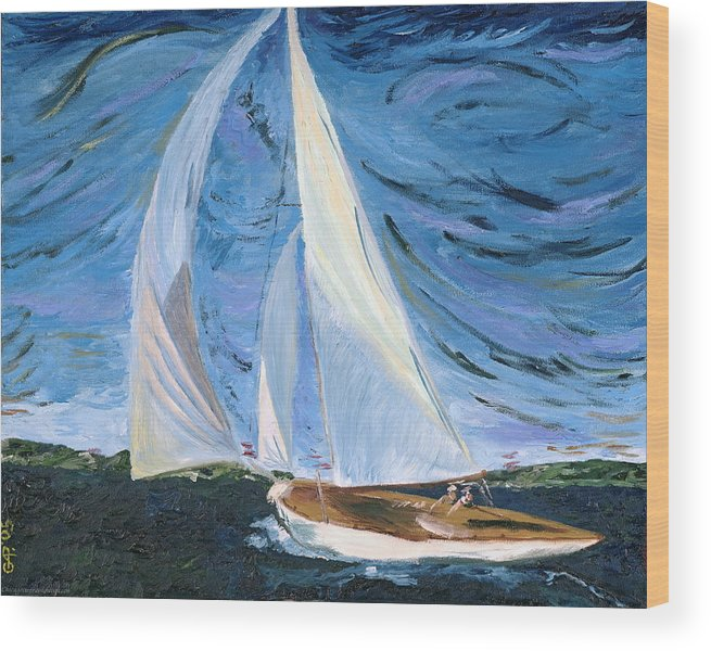 Sailboat Wood Print featuring the painting Marriage by Modern Impressionism