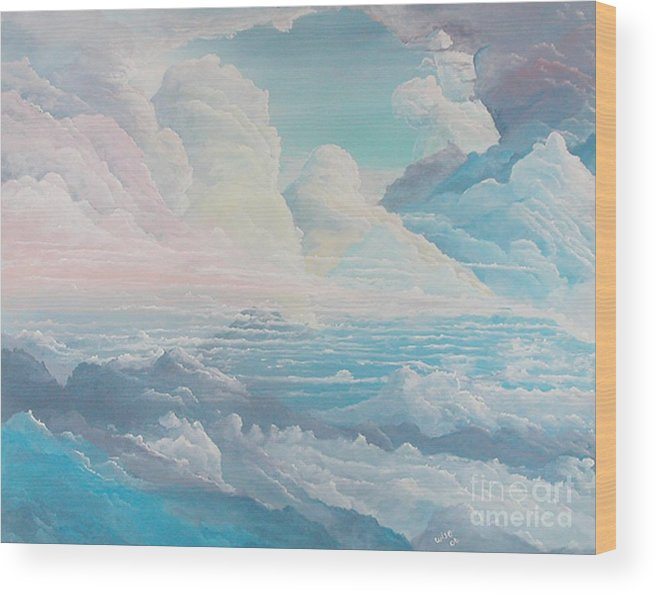 Cloudscape Wood Print featuring the painting May Colored Clouds by John Wise