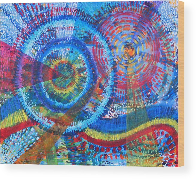 Dots Wood Print featuring the painting Microcosm V by Rollin Kocsis