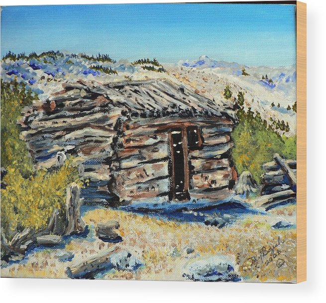 Mining Wood Print featuring the painting Miner's Cabin by Dan Bozich