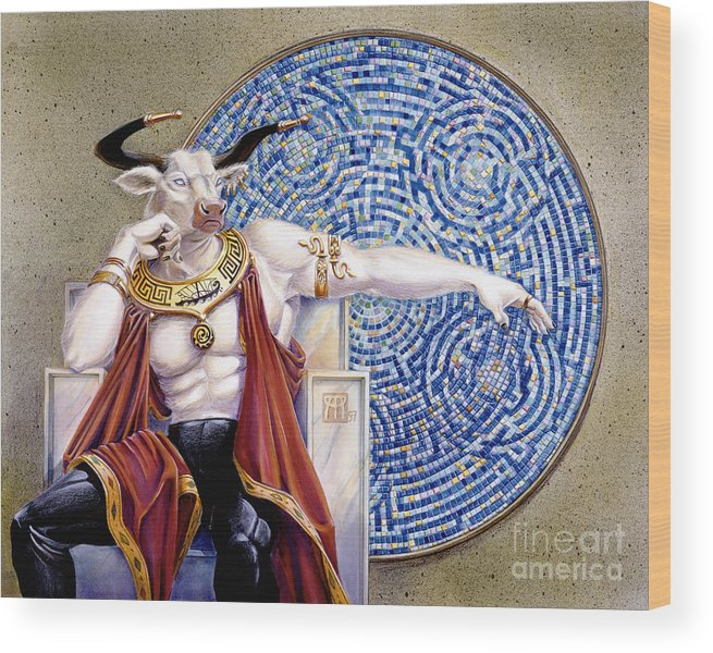 Anthropomorphic Wood Print featuring the painting Minotaur with Mosaic by Melissa A Benson