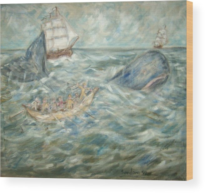 Seascape Whale Ship Ocean Whaleboat Wood Print featuring the painting Mobey Dick by Joseph Sandora Jr