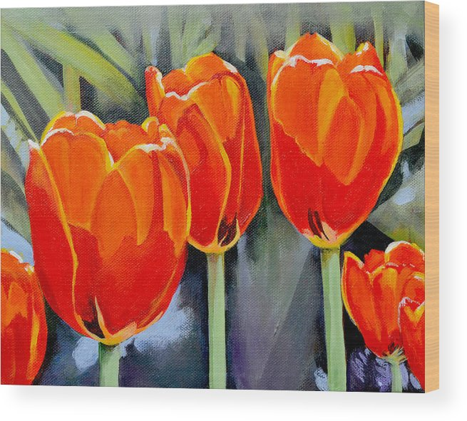 Tulip Wood Print featuring the painting Moment in the Sun 3 by Mary Chant