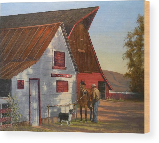 Barn Wood Print featuring the painting Morning Chores by Paul K Hill