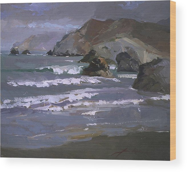 Seascape Wood Print featuring the painting Morning Fog Shark Harbor - Catalina Island by Betty Jean Billups