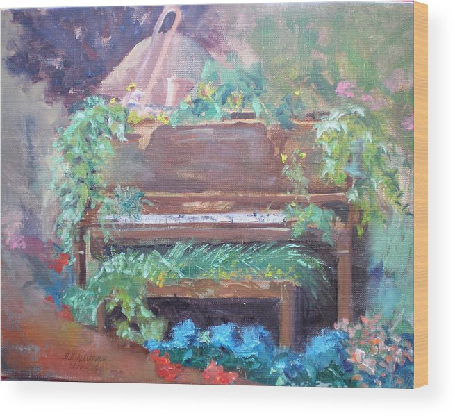 Garden Display Wood Print featuring the painting Music Mania by Bryan Alexander