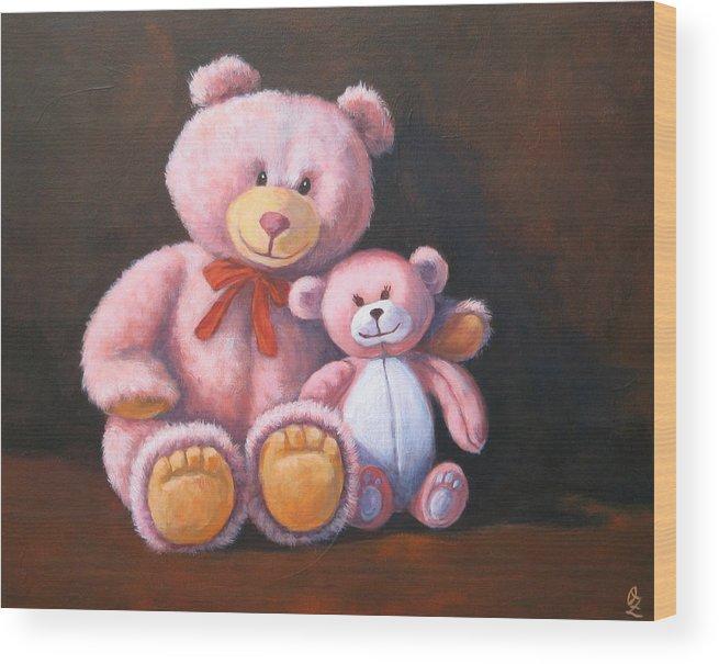 Teddy Bear Wood Print featuring the painting My Bears by Oksana Zotkina