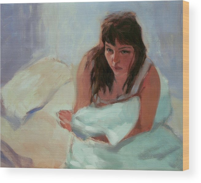 Portrait Wood Print featuring the painting Nicole In The Morning by Merle Keller