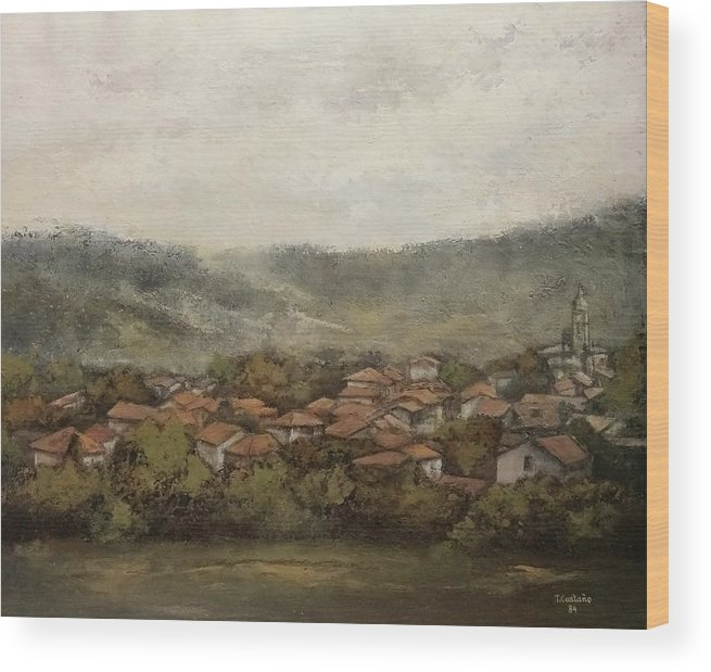 Cantabria Wood Print featuring the painting Novales-Cantabria by Tomas Castano