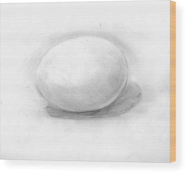 Egg Wood Print featuring the drawing observation EGG ON WHITE by Katie Alfonsi