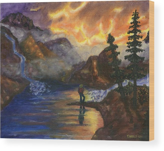 Mountains Wood Print featuring the painting Observation of Beauty by Tanna Lee M Wells