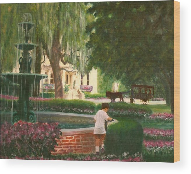 Savannah; Fountain; Child; House Wood Print featuring the painting Old And Young Of Savannah by Ben Kiger