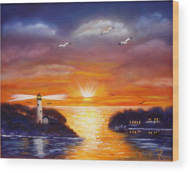 Sunset Wood Print featuring the painting One glorious sunset by Darlene Green