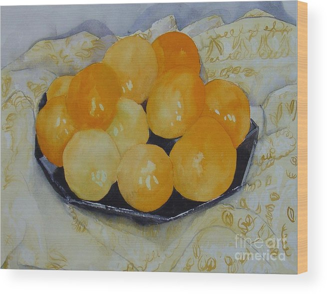Still Life Watercolor Original Leilaatkinson Oranges Wood Print featuring the painting Oranges by Leila Atkinson