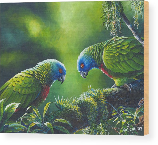 Chris Cox Wood Print featuring the painting Out on a Limb - St. Lucia Parrots by Christopher Cox
