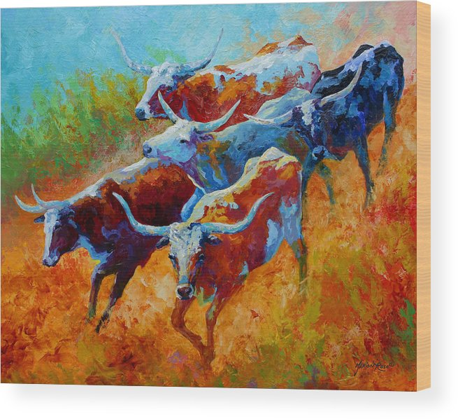 Western Wood Print featuring the painting Over The Ridge - Longhorns by Marion Rose