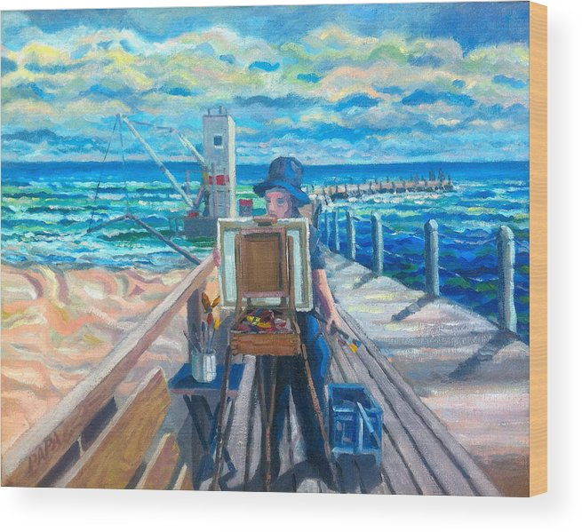 Boynton Inlet Wood Print featuring the painting Painting at the Pier by Ralph Papa