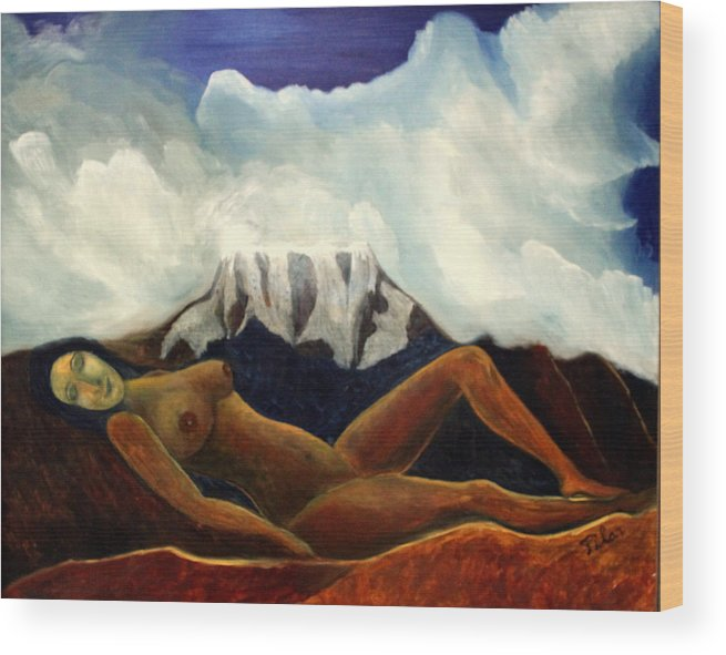 Mother Earth Wood Print featuring the painting Paschamama by Pilar Martinez-Byrne