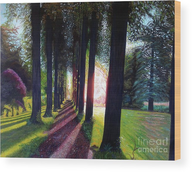 Landscape Wood Print featuring the painting Pathy of light by Jose Manuel Abraham