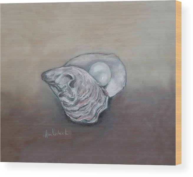 Oyster Wood Print featuring the drawing Pearl by Anne Kushnick